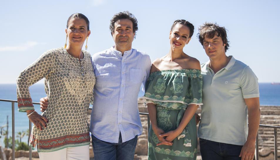 Els membres del jurat Pepe Rodríguez, Samantha Vallejo-Náger, Jordi Cruz i la presentadora Eva González a l'Amfiteatre.