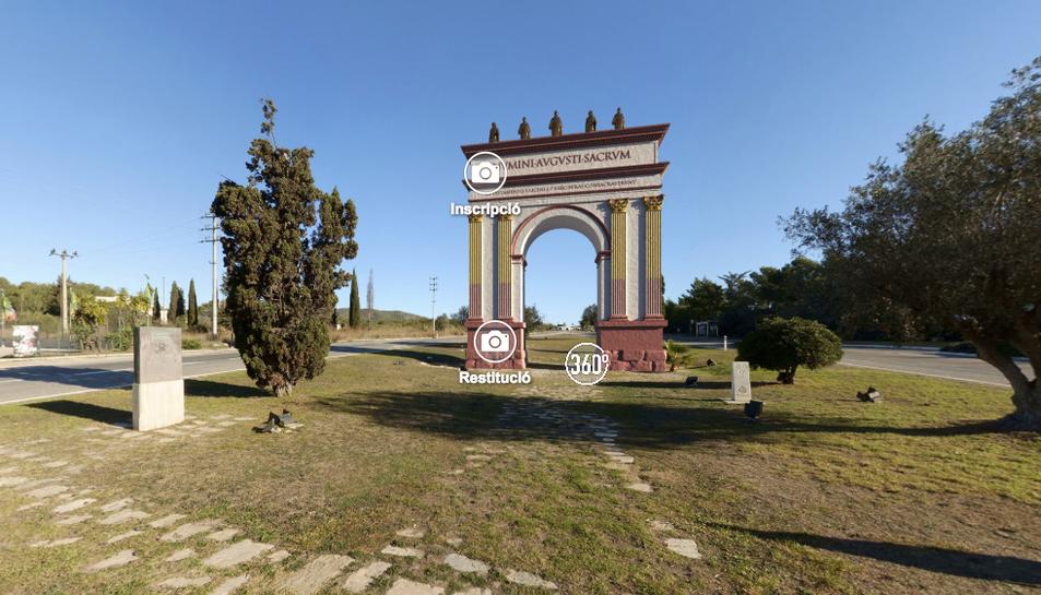 D'aquesta manera es veu la recreació de l'Arc de Berà a través de l'app Tarraco360.