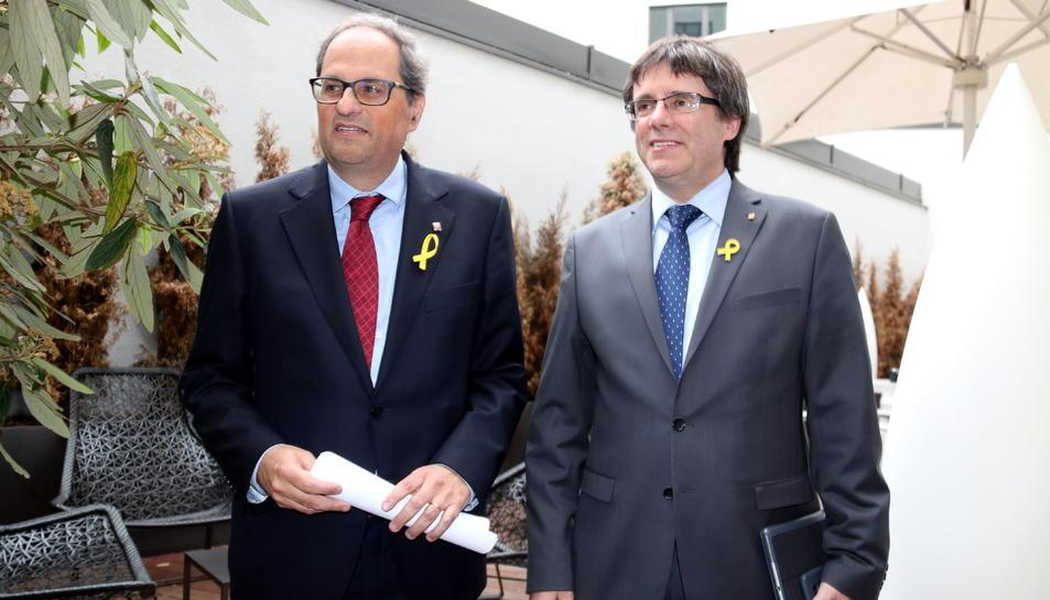 Imatge d'arxiu de Quim Torra i Carles Puigdemont a Berlín.