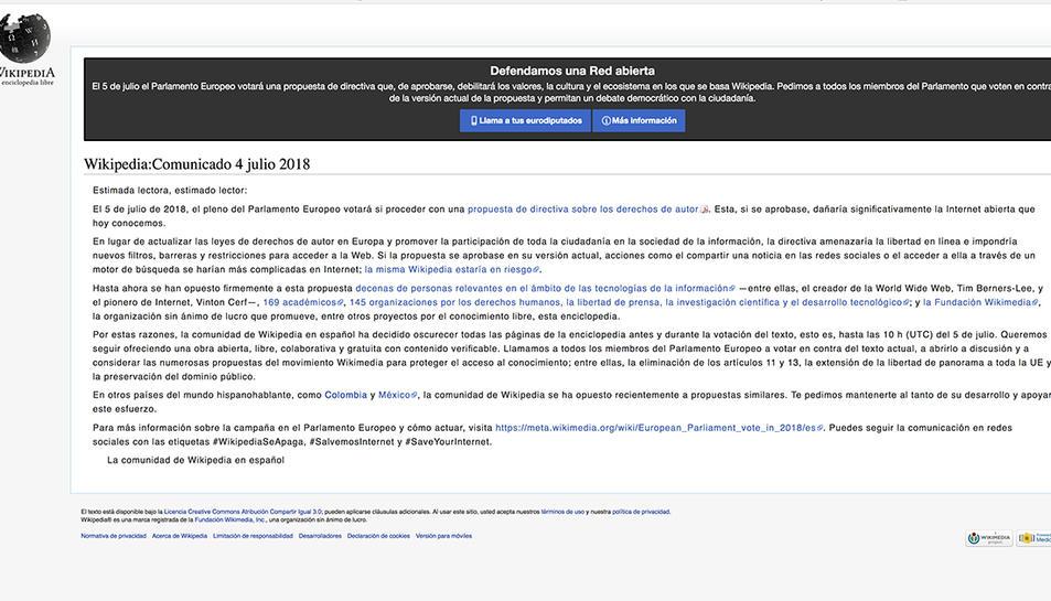 Imatge de la pantalla que apareix quan s'intenta accedir a la viquièdia espanyola.
