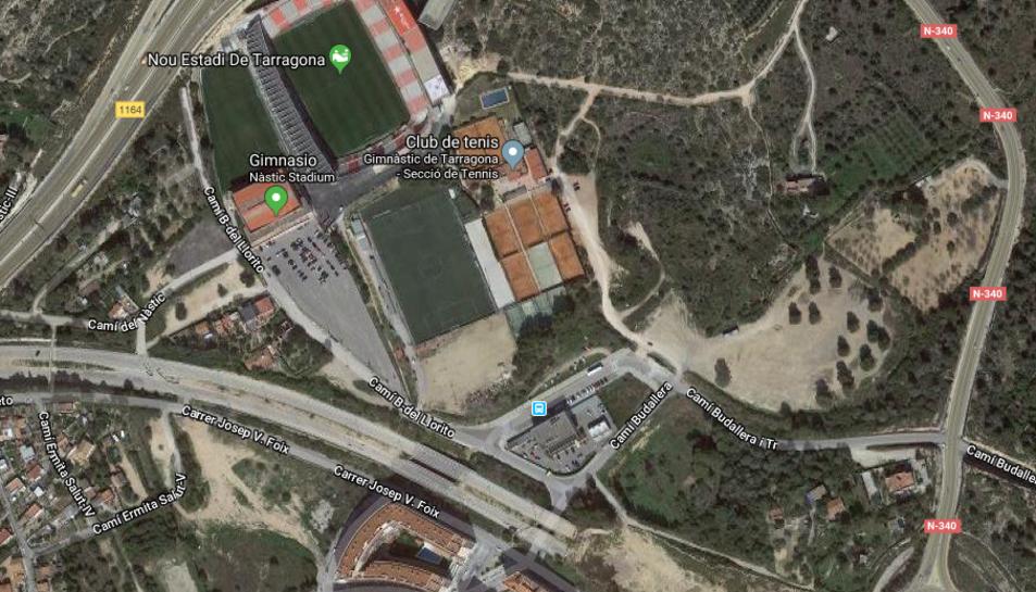 Espai afectat pel projecte urbanístic que inclou terrenys pertanyents al Club Gimnàstic.