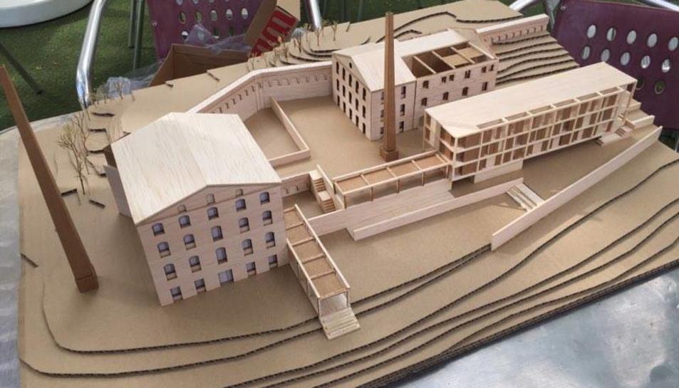 Maqueta del projecte una vegada executat a l'antiga zona de fàbriques del Cetllar.