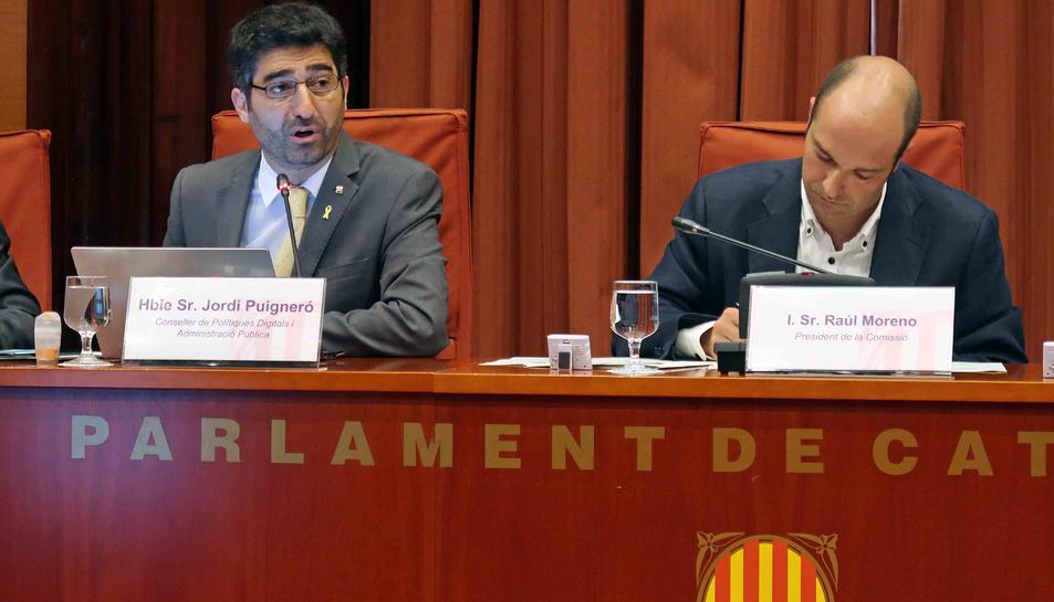 El conseller de Polítiques Digitals i Administració Pública, Jordi Puigneró, durant la seva compareixença.