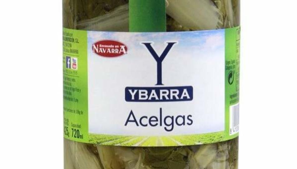 Frasco de acelgas de la marca Ybarra.