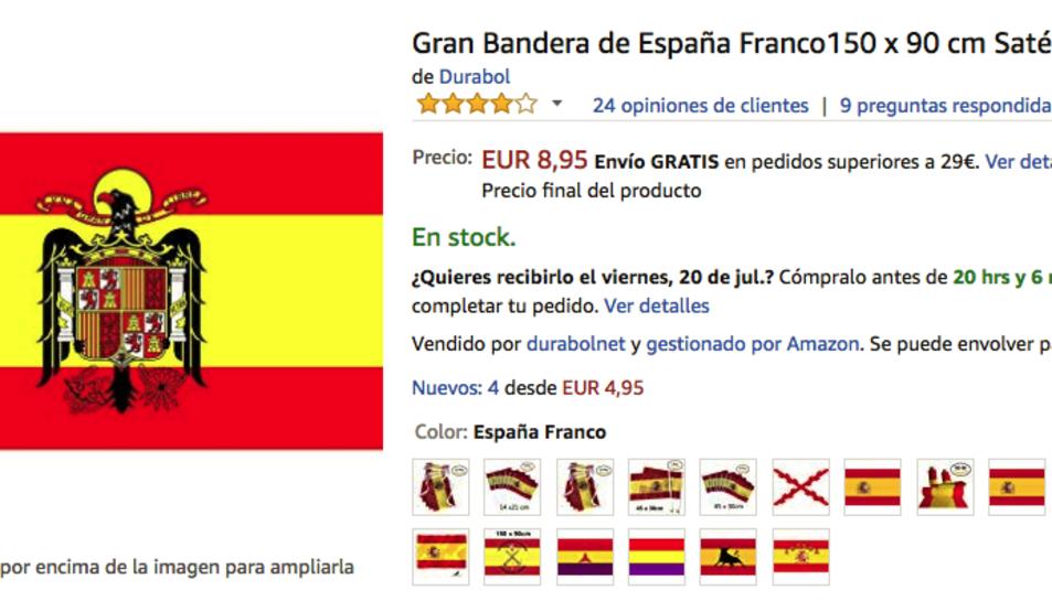 La bandera franquista està a la venda a Amazon.