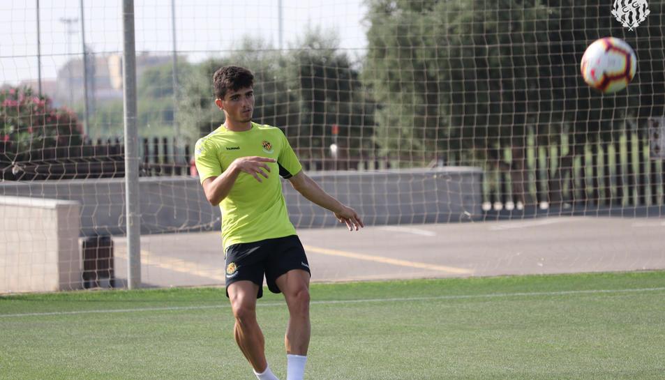 Carrión durant un dels entrenaments de pretemporada del Nàstic aquesta temporada.