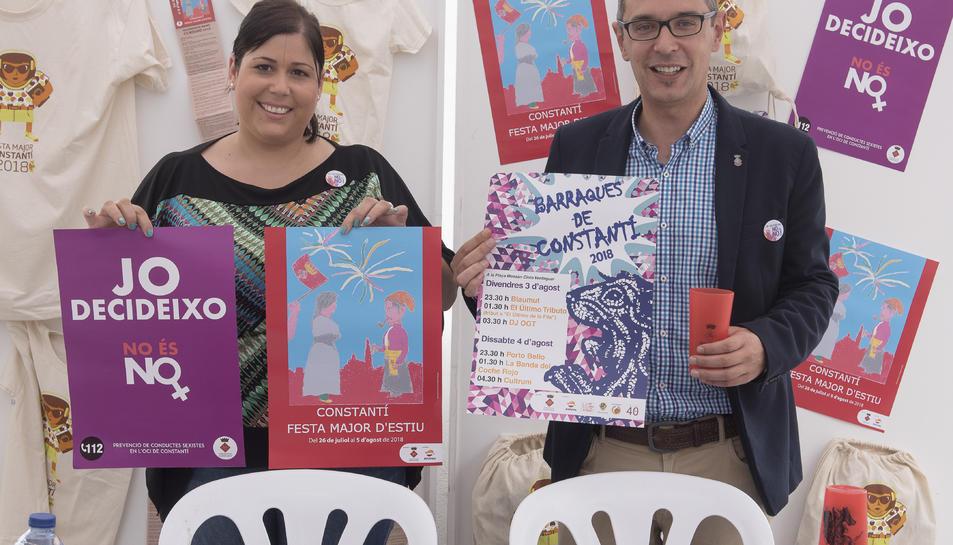 L'alcalde de Constantí, Òscar Sánchez, i la regidora de Festes, Meritxell Cano, han presentat el programa de la Festa Major d'Estiu.
