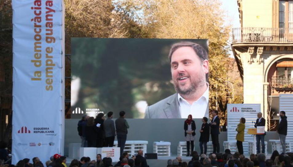 imatge d'arxiu del míting central d'ERC en la campanya del 21D.
