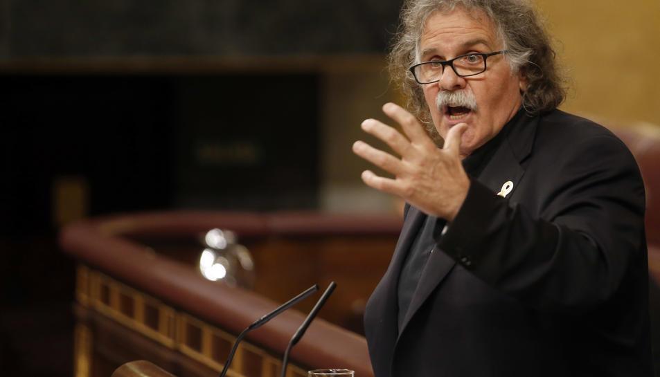 El portaveu d'ERC al Congrés, Joan Tardà, durant un dels seus discursos al debat de la moció de censura contra Mariano Rajoy aquest 31 de maig del 2018.