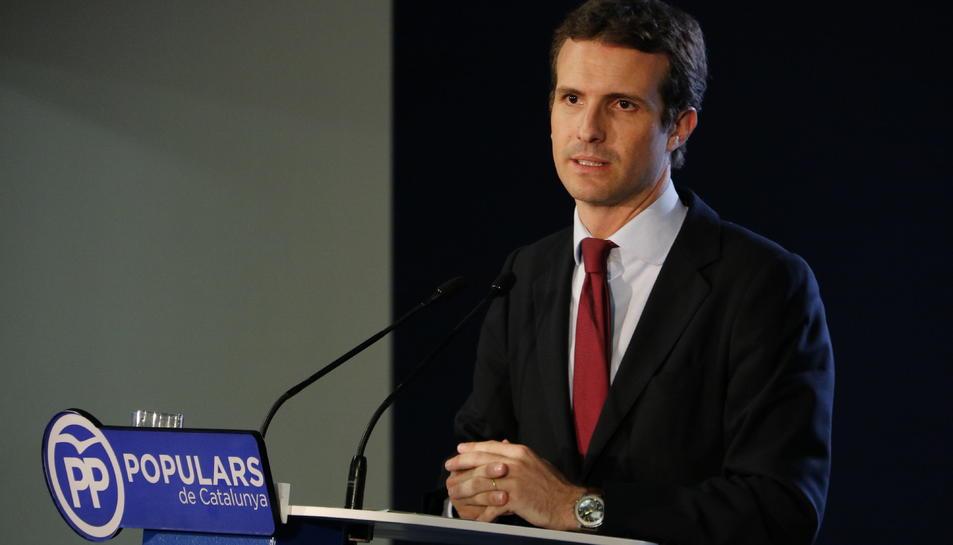 El president del PP, Pablo Casado, durant la roda de premsa que ha ofert després del del Consell Executiu Nacional