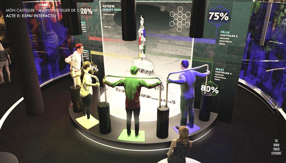 Simulació d'una de les sales interactives que tindrà el futur Museu Casteller de Valls.