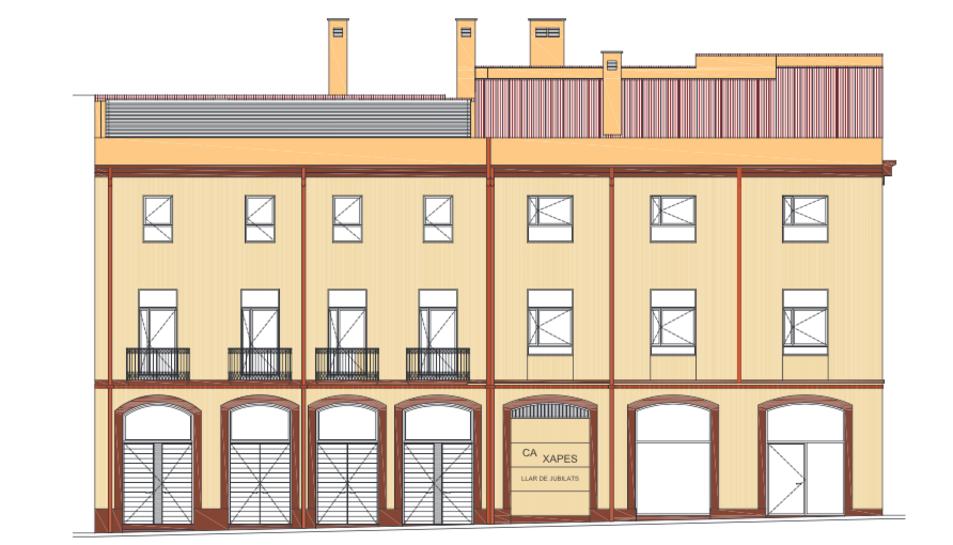 Imatge de la façana del projecte de rehabilitació de Ca Xapes.