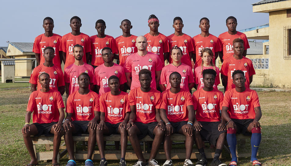 Els integrants de l'equip del CF Reus de Guinea Equatorial.