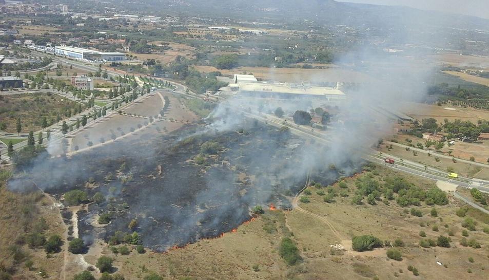 Imatge aèria de l'incendi.