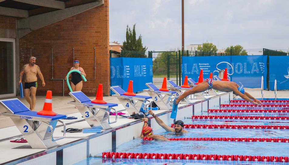 La piscina olímpica de l'Anella Mediterrània en una imatge de la tarda d'ahir.