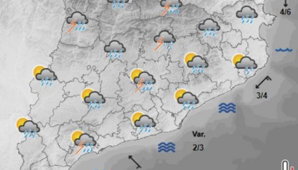 Mapa de la previsió meteorològica per la tarda d'aquest dijous, 9 d'agost.