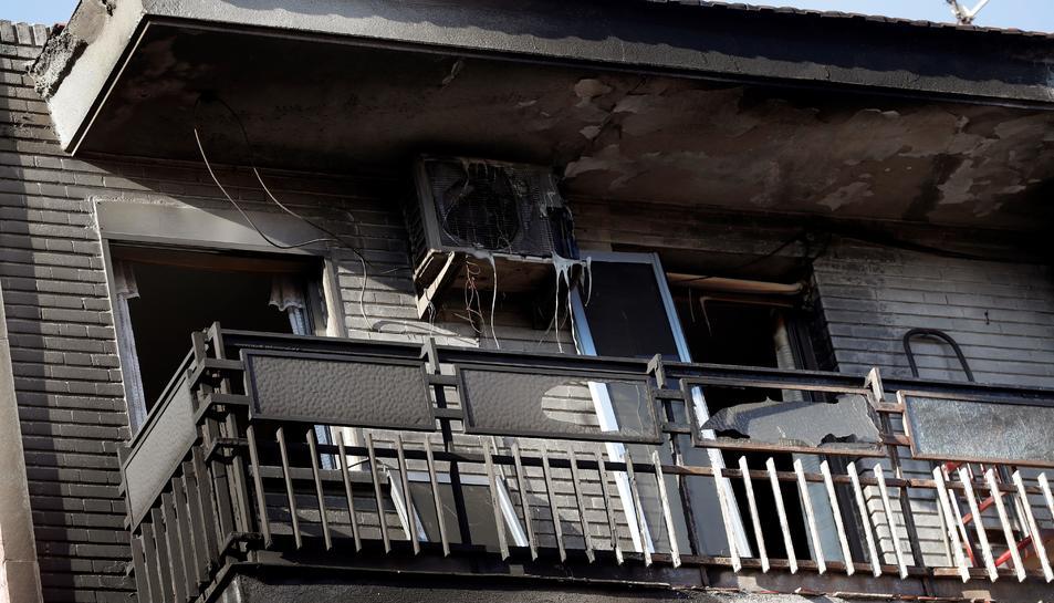 Imatge de l'estat de l'edifici després dels fets.