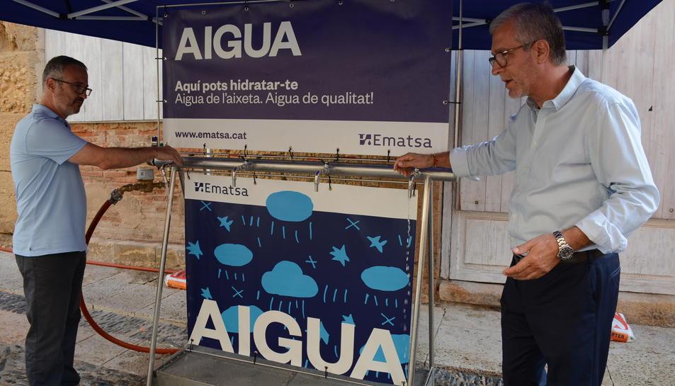 Imatge del punt d'hidratació que es col·locarà diumenge a la plaça de les Cols en el marc de la diada de Sant Magí.