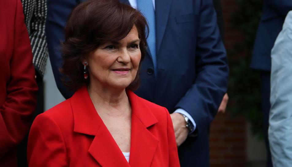 Primer pla de la vicepresidenta del govern espanyol, Carmen Calvo.