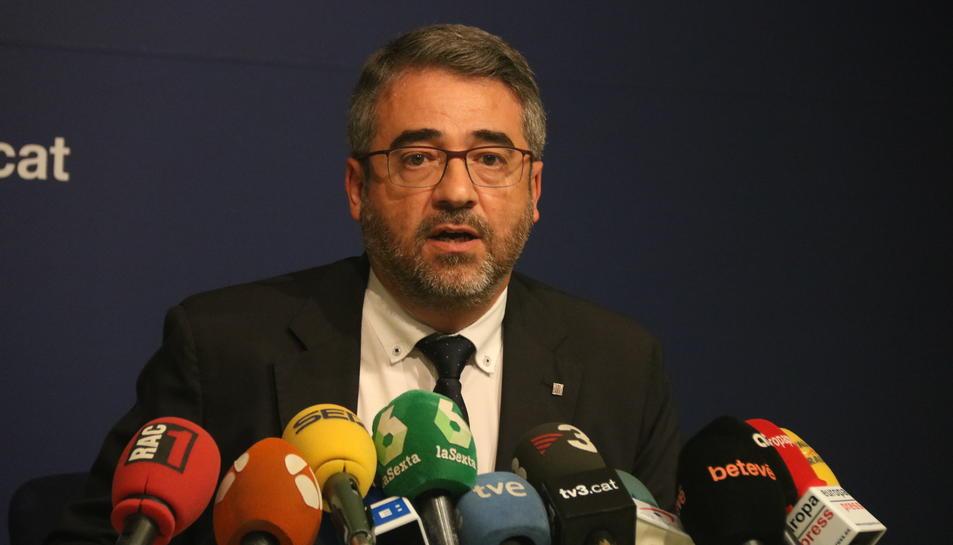 El director general dels Mossos d'Esquadra, Andreu Joan Martínez, en roda de premsa.