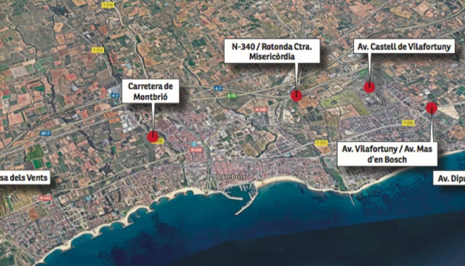 Mapa amb la ubicació de les sis càmeres, que estaran als accessos principals de Cambrils i tres d'elles s'instal·laran a Vilafortuny.