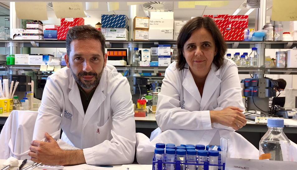 Josep Villanueva i Olga Méndez al laboratori del VHIO.