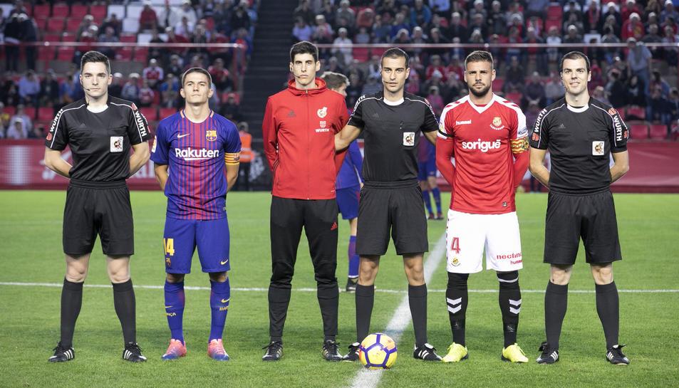 Varón Aceitón, durant el Nàstic-Barça B de la campanya passada.
