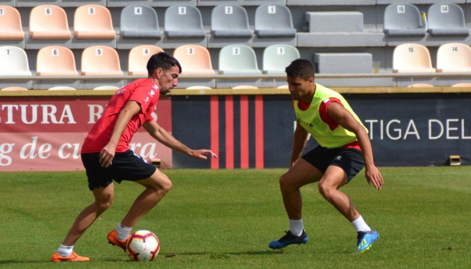 Imatge de la sessió d'entrenament que el CF Reus Deportiu va realitzar ahir.