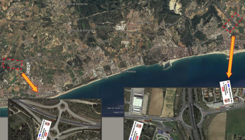 Mapa de l'emplaçament de cartells a la zona deL