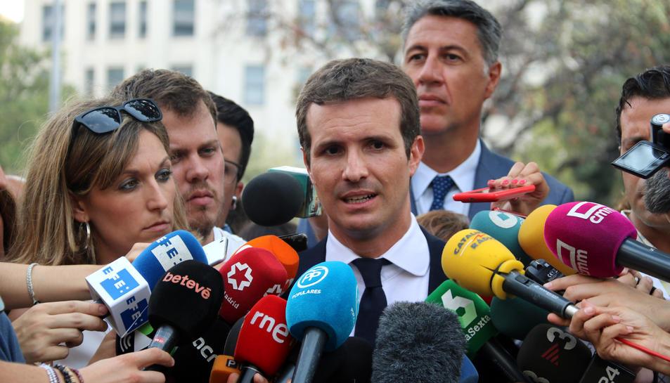 El líder del PP, Pablo Casado, en declaracions als mitjans de comunicació.