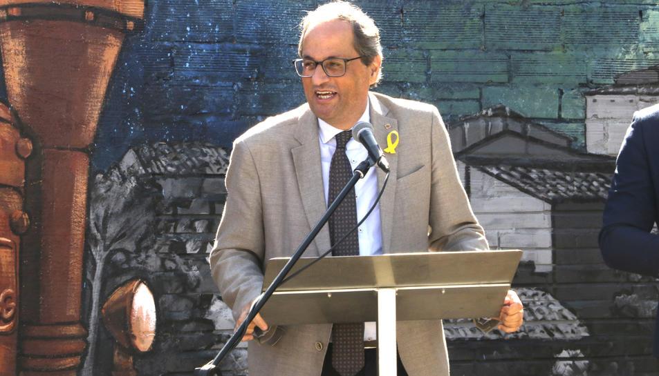 El president de la Generalitat, Quim Torra, durant el seu parlament al nou parc U d'octubre de Juneda, inaugurat aquest dissabte.
