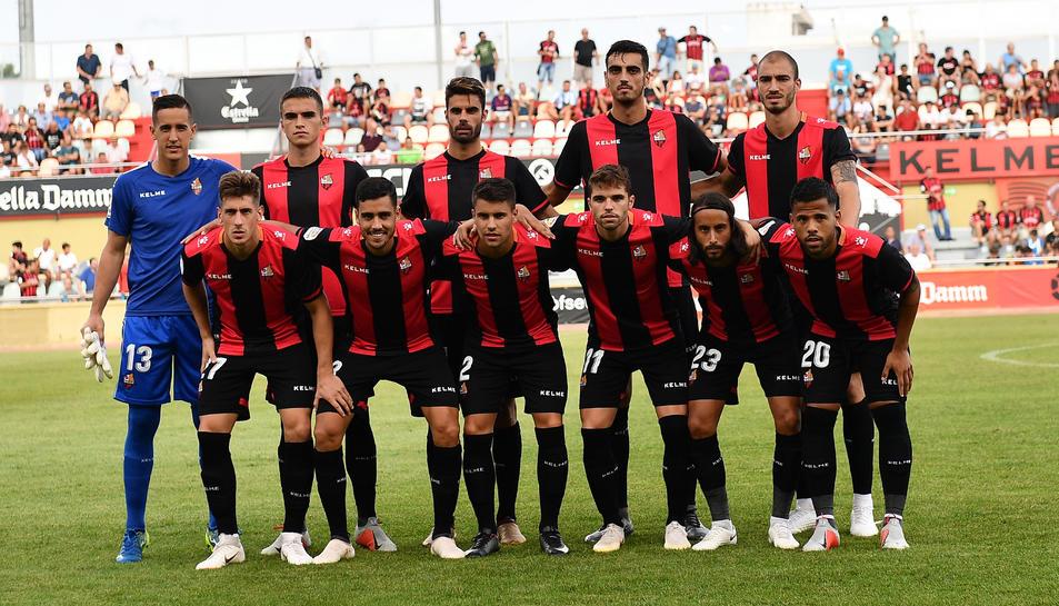 Imatge de l'onze inicial del CF Reus Deportiu en el partit contra el Zaragoza a l'Estadi Municipal.