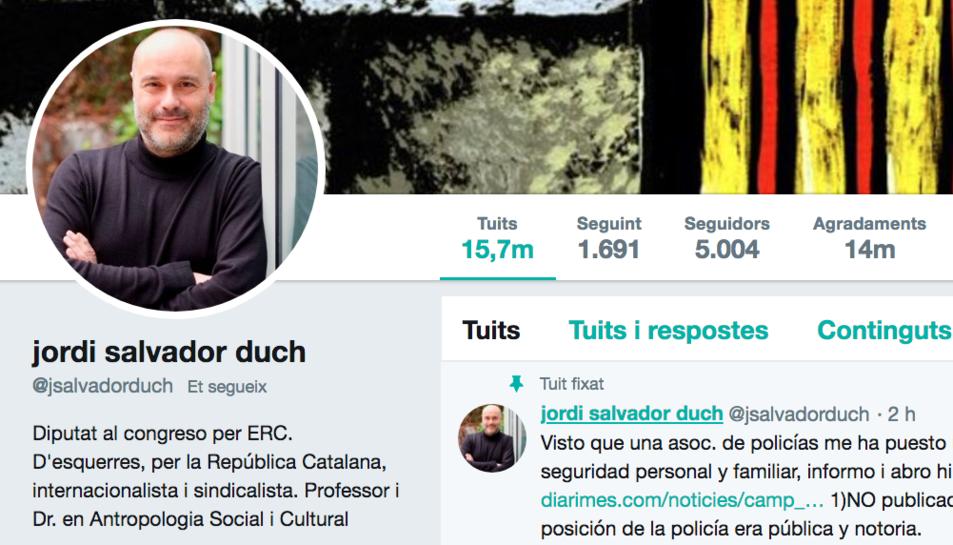Imatge del compte de Twitter de Jordi Salvador Duch.