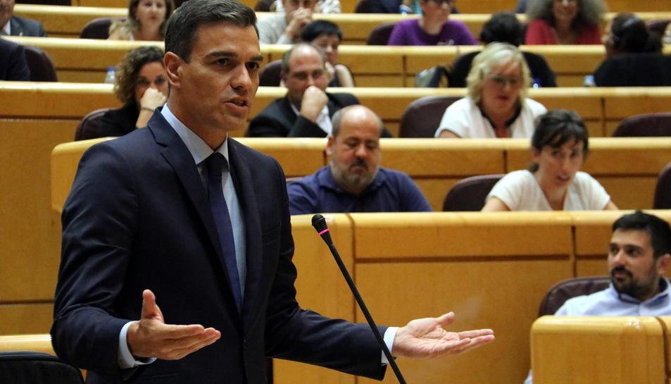 Pla mig de la intervenció del president espanyol, Pedro Sánchez, al Senat.