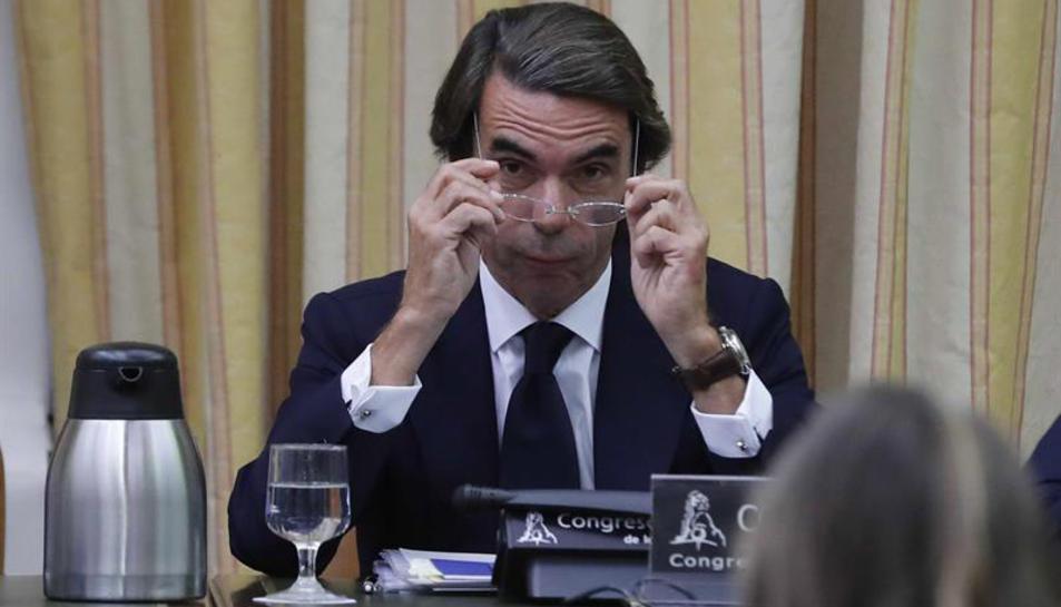 L'expresident del PP i del govern espanyol, José Maria Aznar, durantla seva compareixença.