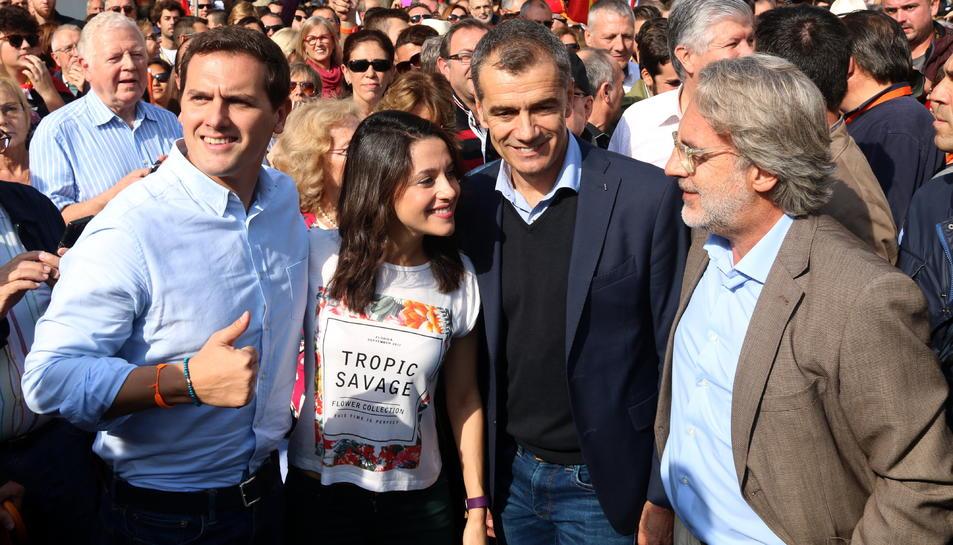 Albert Rivera, Inés Arrimadas, Toni Cantó i el regidor Carlos Sánchez en un míting de Ciutadans.