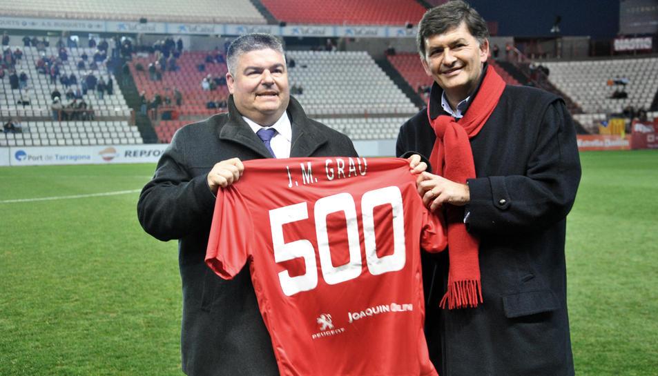 Grau, celebrant els 500 partits com a delegat.