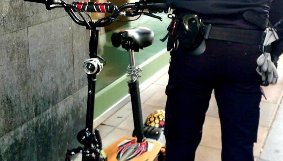 Imatge del patinet requisat per la policia local de Valladolid.