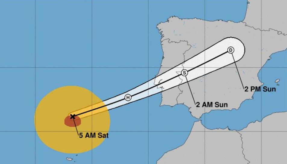 La trajectòria de l'huracà Leslie