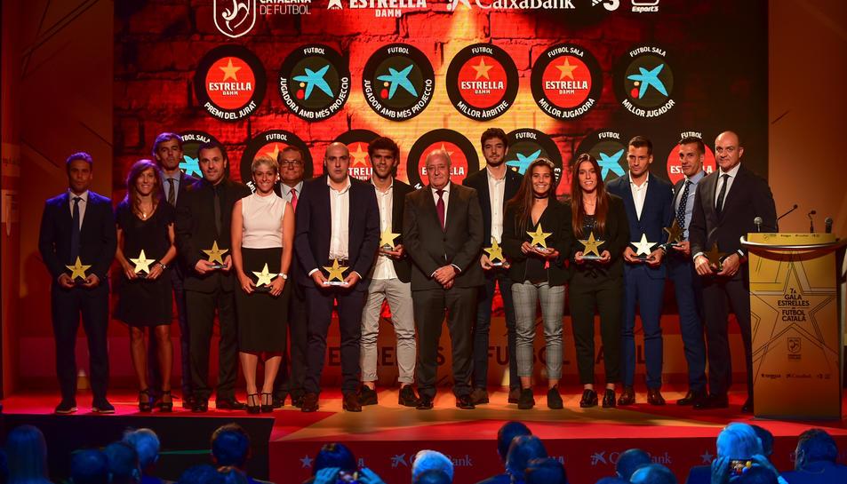Tots els guardonats a la setena Gala de les Estrelles de la Federació Catalana de Futbol.