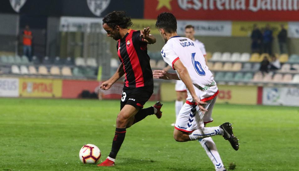 Imatge de Mario Ortiz en una jugada del partit contra el Rayo Majadahonda a l'Estadi.