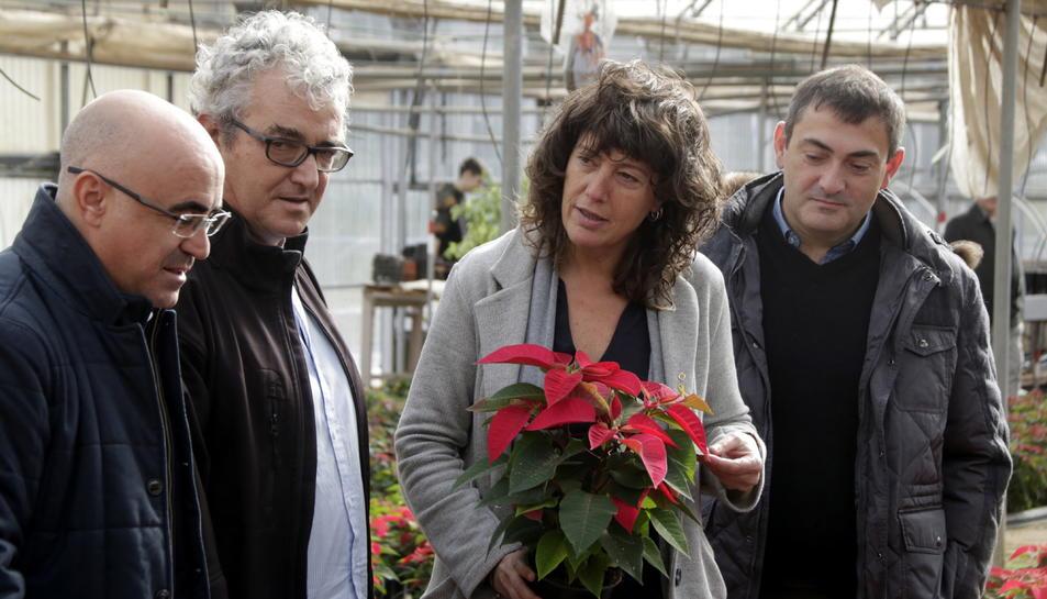 La consellera d'Agricultura, Teresa Jordà, amb una ponsètia a les mans, durant una visita a l'Institut d'Horticultura i Jardineria de Reus.
