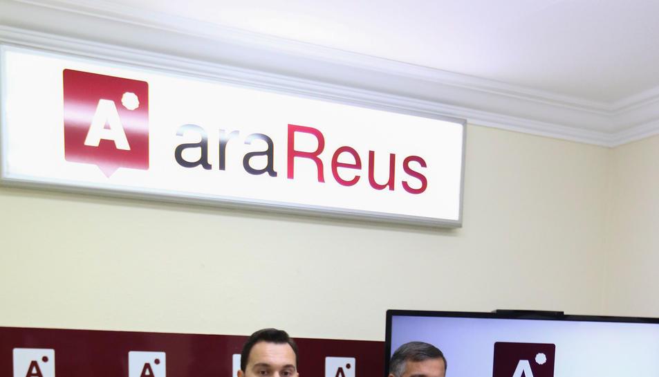 Daniel Rubio i Jordi Cervera, ahir a la seu del partit Ara Reus.