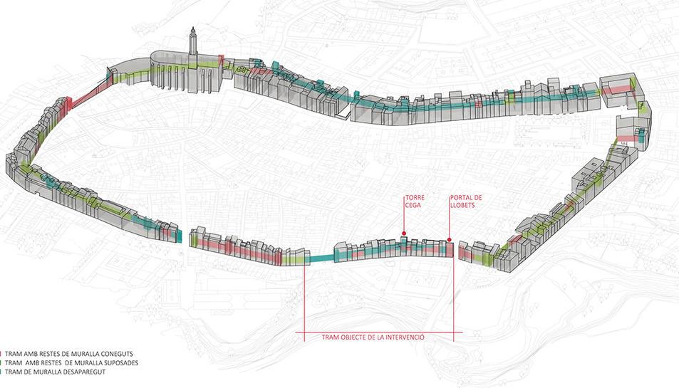 Imatge de la ubicació del tram de l'antiga muralla sobre el qual s'ha actuat.