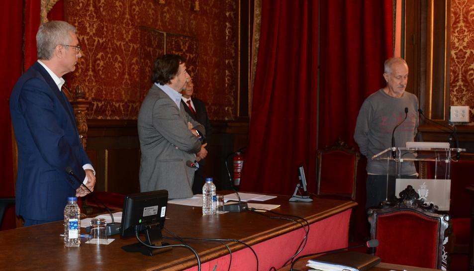 Imatge de la presa de possessió de Jaume López Martín com a regidor municipal de la CUP