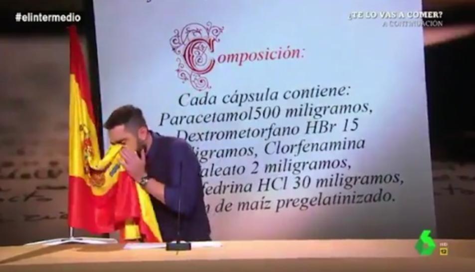 Imatge del moment del gag del programa que ha estat denunciat per un sindicat policial.