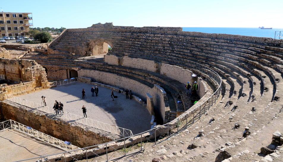 Pla general de la grada de l'amfiteatre romà, a Tarragona.
