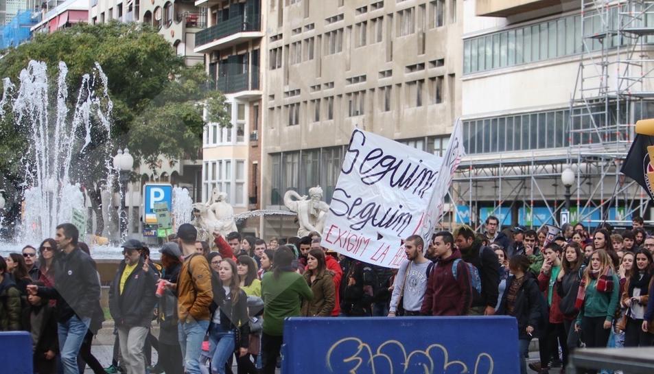 Manifestació professors i estudiants