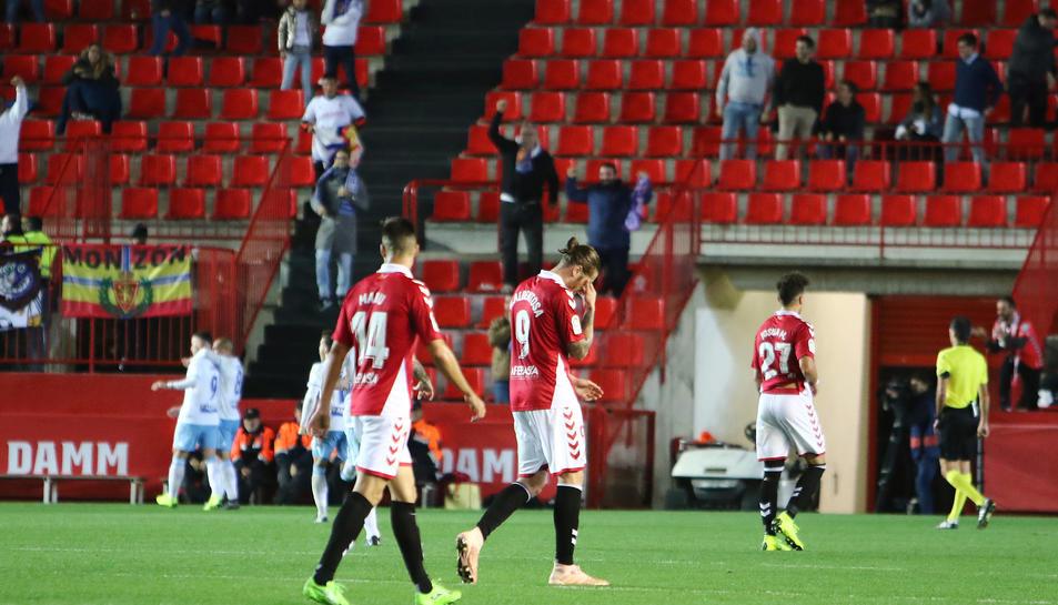 Imatge del final del partit contra el Zaragoza, disputat al Nou Estadi, en què els tarragonins van perdre per 1-3.