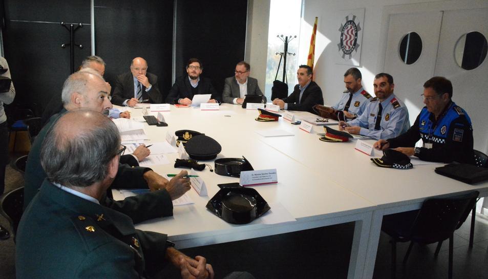 Reunió de la Junta Local de Seguretat a la comissaria de la Guàrdia Urbana de Tarragona.